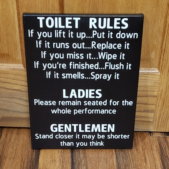 Other - Toilet Rules Fun Bathroom Decor Sign